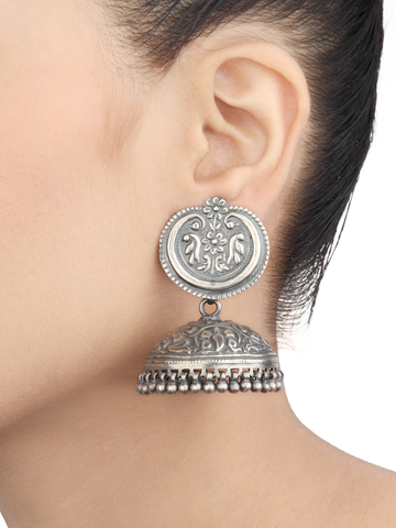 Tribal Silver Jhumkas With Chitari Work