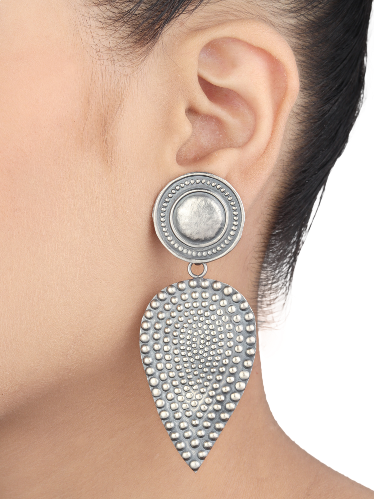 Tribal Silver Earrings With Rawa Work 92.5 Silver