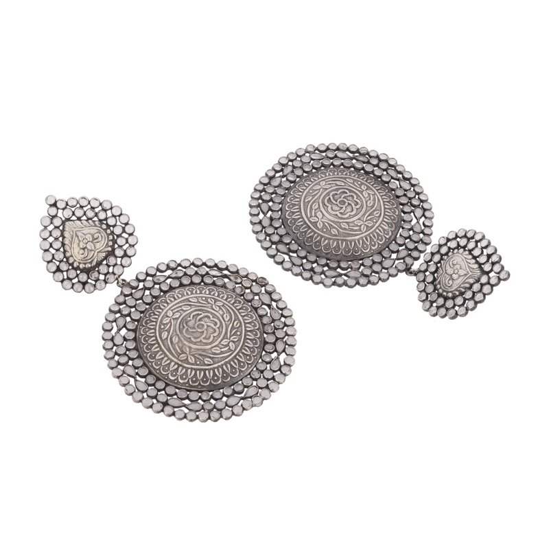Oversized Silver Crystal Earrings With Chitari Work  92.5 Silver