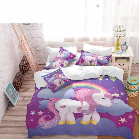 Unicorn Bedding Set Purple Designer Duvet Cover Cartoon Rainbow Animal Printed Bed Line for Girl Princess Room 3pcs US/AU/RU