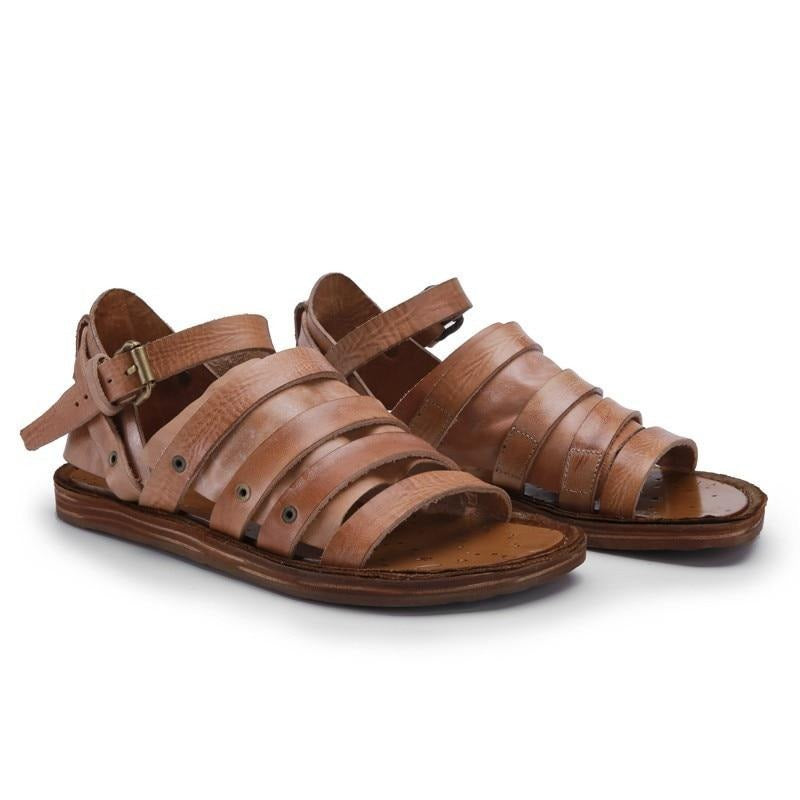 Luxury Handmade 100% Cowhide Genuine Leather Men Gladiator Sandals Summer Shoes Casual Vintage Flats Beach Slipper Strap Sandals
