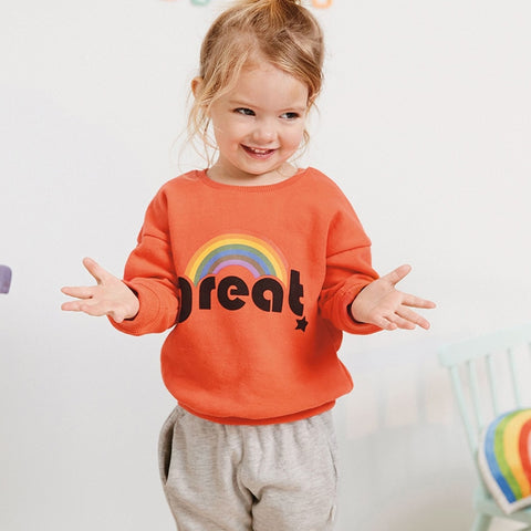 Autumn new baby girls brand clothes letter print rainbow toddler orange sweatshirts baby girl outfit