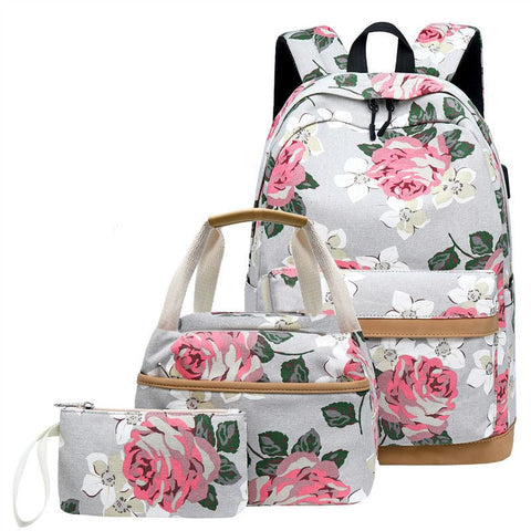 3 Pcs School Backpacks for Teen Girls School Bags Lightweight Kids Bags Children Travel Floral Canvas Backpack Book Bags Set