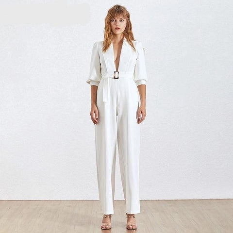 Summer Sexy V Neck Jumpsuit For Women Lantern Sleeve High Waist Sashes Loose Jumpsuits Female Fashion New