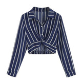 Spring Autumn Women's Long Sleeve Turn-down Collar Button Stripe Shirt Crop Blouse Women 2019 Modis Female Sexy Blouses Tops