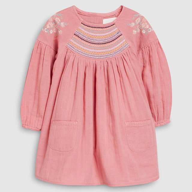 kids girls fashion brand autumn baby girls clothes draped dress Cotton pockets toddler girl dresses