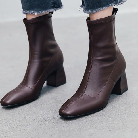Fashion Show Ankle Boots For Women Dark Brown Black Real Leather Bota Square Toe Sewing Upper Womens Shoes Runway