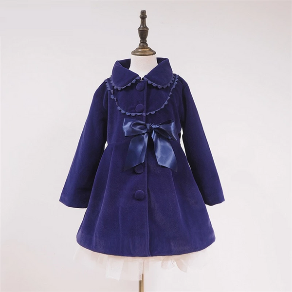 New version of the winter girl jacket bow lace rabbit cashmere in children's coat lapel wool windbreaker