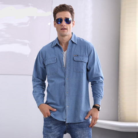 Good Quality Autumn New Long Sleeve Denim Shirts Men Shirt Slim Fit Mens Workwear Jeans Shirts