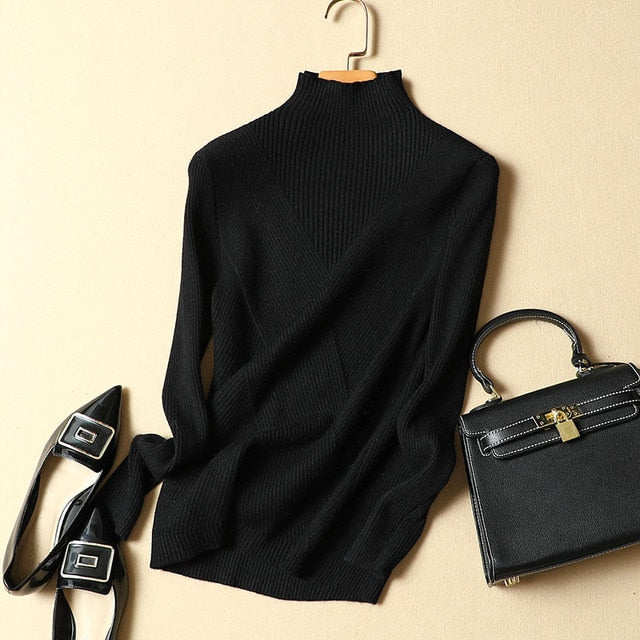 New winter Turtleneck Women Sweater and Pullovers soft cashmere pull female thickened slim knitted women knitwear tops 0.36KG