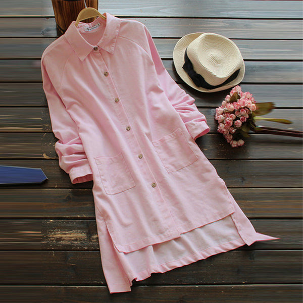Elegant Autumn Irregular Tops Womens Blouse Casual Lapel Button Down Long Shirts Female Work Blusas Plus Size Tunic