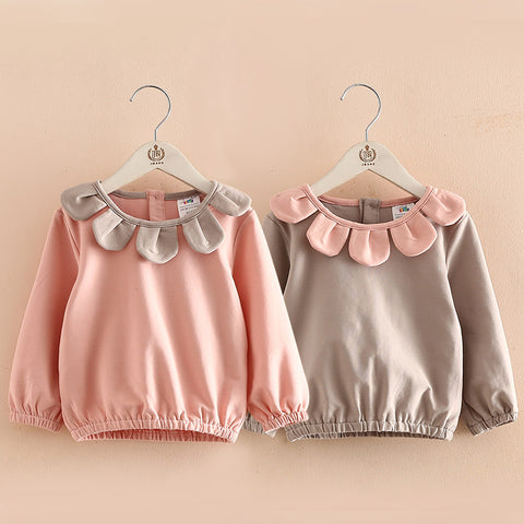 Spring Autumn 2-10 Year Children Sweet Beauty Cute Big Flower Leaves O-Neck Baby Kids Girls Long Sleeve Basic T-Shirts