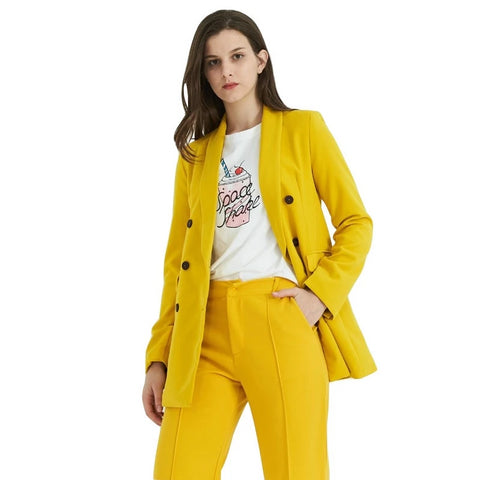 Women yellow suit jacket formal blazer double breasted pockets outwear work office business suit outwear