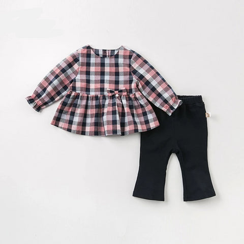 Spring autumn baby girls fashion bow plaid clothing sets kids cute long sleeve sets children 2 pcs suit