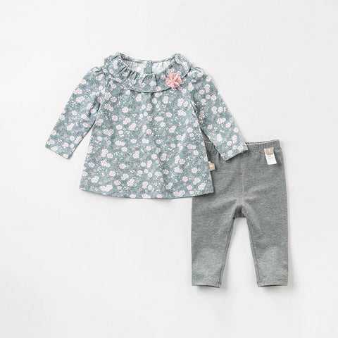 Autumn baby girls fashion floral clothing sets kids cute long sleeve sets children 2 pcs suit