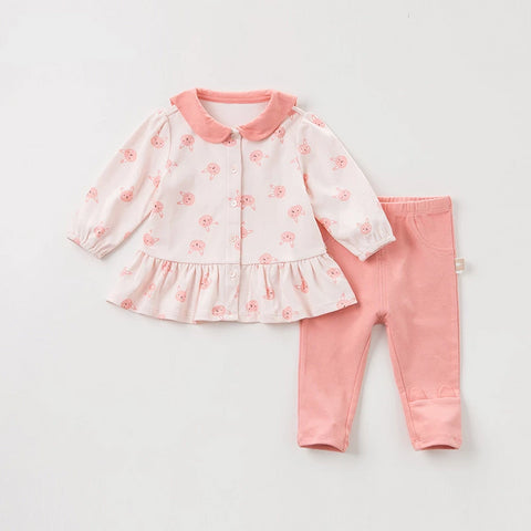 Spring autumn baby girls fashion rabbit print clothing sets kids cute long sleeve sets children 2 pcs suit