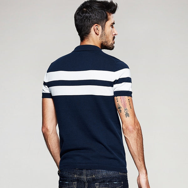 Summer Knitted 100% Cotton Striped Polo Shirt Men Fashions Short Sleeve Slim Fit Polo Shirt Male Brands Clothes