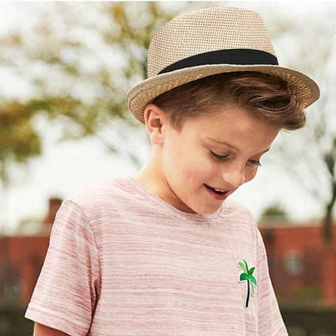 Children Sunhat Kids Summer Beach Straw Hat Jazz Panama Trilby Fedora Hats British Cap Breathable Baby Hats Girls Boys