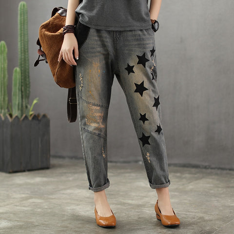 Spring Autumn Jeans Women Retro Loose Denim Pants New Elastic Waist pocket Embroidery Five stars hole Casual Ladies Trousers