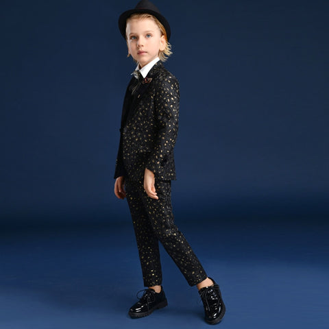 Black gold leopard print Boys suits for weddings Prom Suits Wedding Dress for Boys Kids tuexdo Children Clothing Blazers for Boy