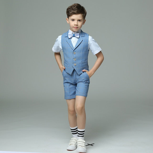Kids suit waistcoat suit set boys suits formal double breasted striped  kids vest suit set wedding costume fashion blazer suit