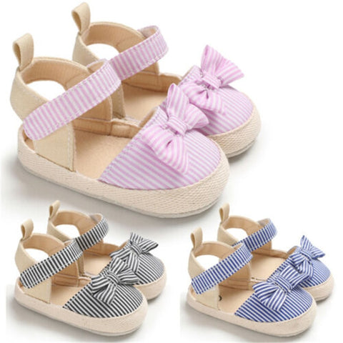Baby First Walkers Shoes Summer Canvas Striped Bowknot For Girl Newborn Non-slip Shoes Playtoday Beach Casual Kids Clothing