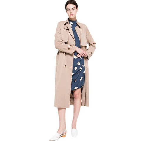 Autumn New High Fashion Brand Women Classic Double Breasted Trench Coat Waterproof Raincoat Business Outerwear