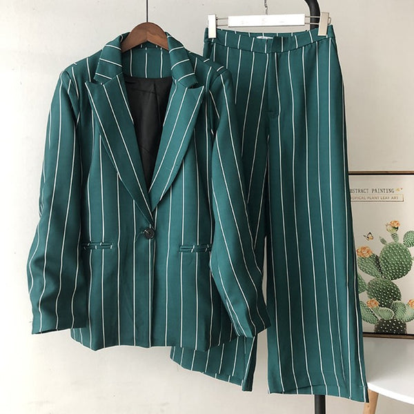 Women Elegant Pant Suits 2 Piece Sets Striped Green Blazer And Jacket Vintage Striped  Wide Leg Pants Women Chic Outfit Suits