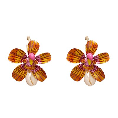 Trendy Hyperbole Brand Za Flower Plant Dangle Earrings Natural Shell Temperament Jewelry for Women Party Jewelry Gift
