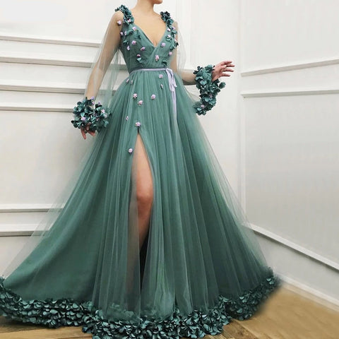 Long Sleeves Green Sexy Evening Dresses Handmade Flowers V-Neck Tulle Evening Dresses Design Women Formal Gown
