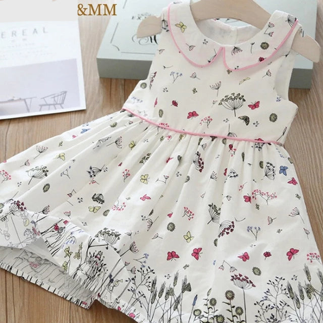 Girls Dresses  Spring New Children's Clothing Girls Sweet Bow Floral Cute Sleeveless Vest Princess Dress