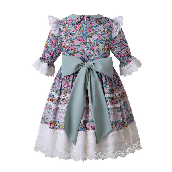 Summer Party Wedding  Baby Girl  Wedding Flower Printed Rose Embroidery Dress For Kid Dress Length under Knee