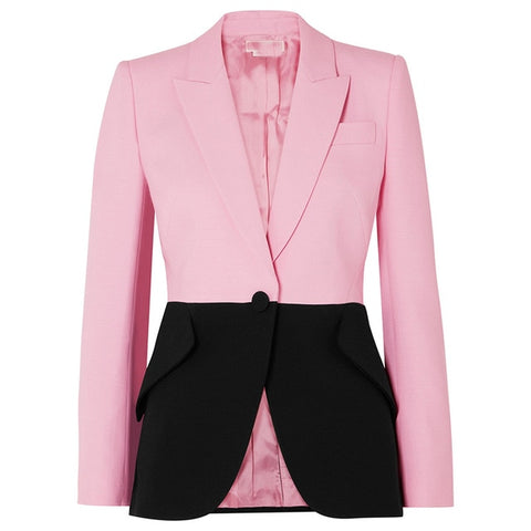 Hit Color Patchwork Blazer For Women Notched Collar Long Sleeve Elegant Coats Female 2019 Fashion Summer New