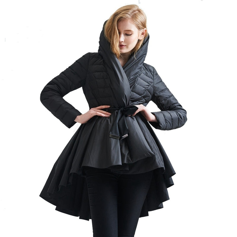 Winter new stylish Irregular skirt design light luxury keep warm down coat women' fashion down jacket