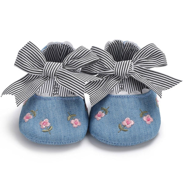 Newborn Baby Shoes Fashion Baby Girl Shoes First Walkers Print Bow Baby Girl Shoes Hair Stripe Prewalker