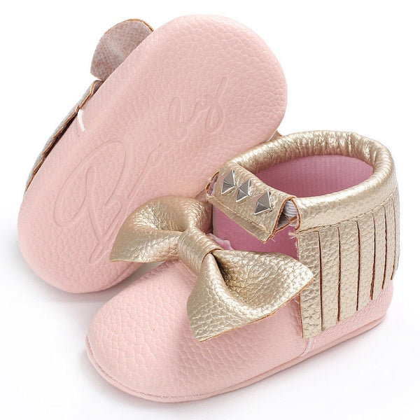 Newborn Toddler Infant Baby Boy Girl Tassel Party Princess Bow Pink Golden Shoes Formal Patchwork Rivet Crib Shoes 0-18M