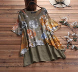 Women Summer Short Sleeve Shirt Casual Patchwork Vintage Floral Printed Blouse Tunic Tops Chemise Blusas Femininas