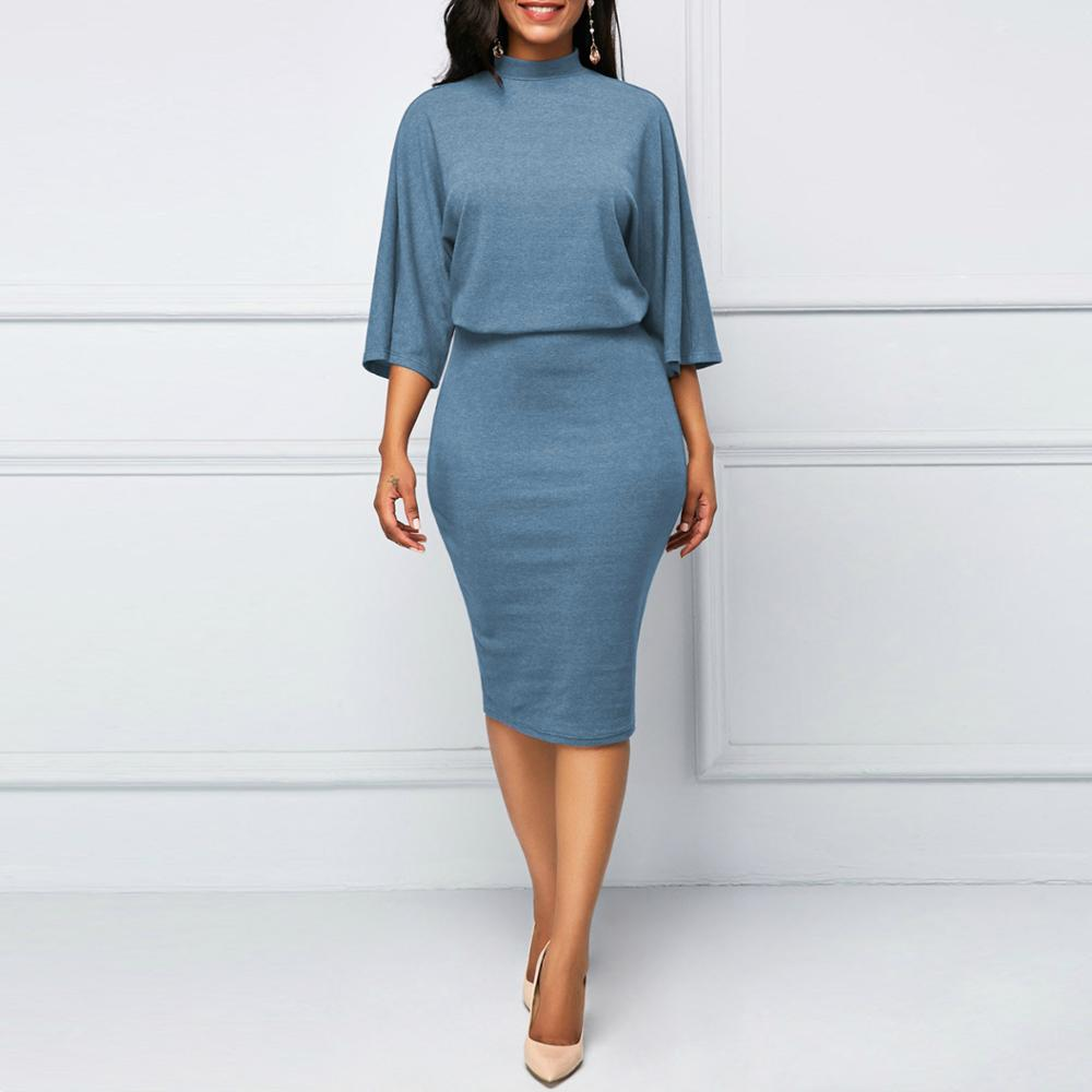 Women Casual Dress O Neck 3/4 Sleeve Plus Size 5XL Solid Bodycon Dress  Ladies Work Business Dresses