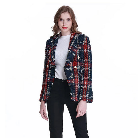 Vintage Double Breasted Frayed Checked Tweed Blazers Coat Women Fashion Pockets Plaid Ladies Outerwear Casual Casaco Femme