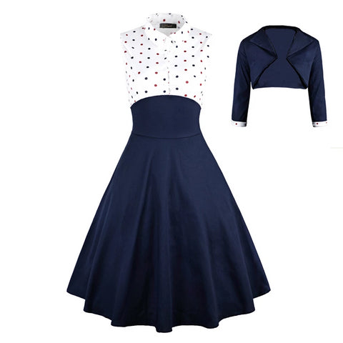 Autumn Elegant Women two pieces dress set 2 pcs Polka dot Printed party pin up vestidos retro vintage rockabilly 3XL