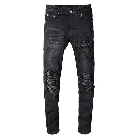 Men's black patchwork biker jeans for motorcycle Slim skinny plus size ripped stretch denim pants