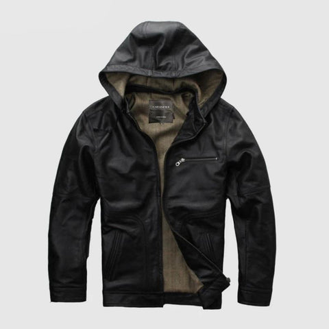 New Men Black Hooded Genuine Leather  Jacket 100% Real Casual Winter Coats