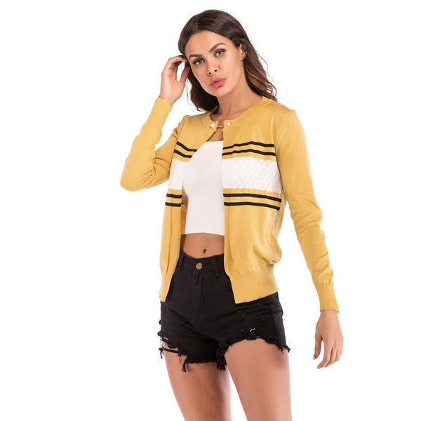 Autumn woman Long Sleeve Striped Printed O Neck Fashionable color block knitted cardigan ladies sweaters and jackets