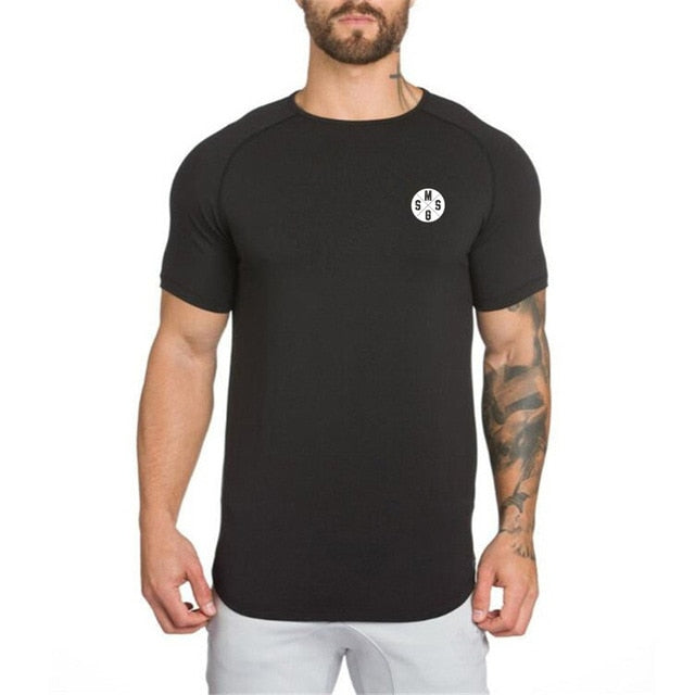 Clothing Slim fit T Shirts Men Short Sleeve T-Shirt Fitness Tops Tees Cotton Patchwork Mesh Bodybuilding Tee shirt