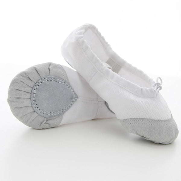 Girls Dance Shoes Soft Canvas and Leather Head Dance Slipper Ballet Shoes Ballerina Shoes