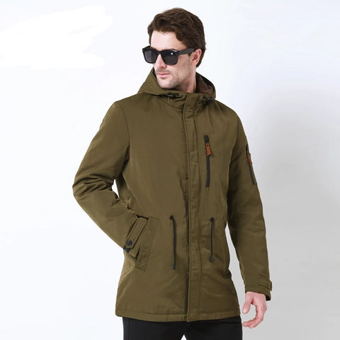 Trench Coat For Men Hat Detachable Autumn Men New Casual Medium Long Brand Coats