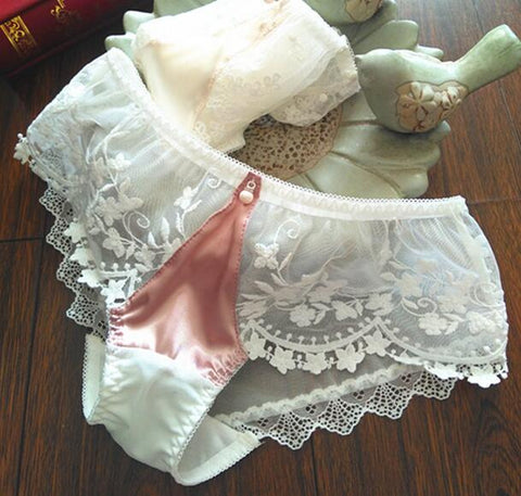 2019 New Arrival  Plus Size M L XL 3XL Princess Lovely Cute Lolita Kawaii Sexy Embroidery Satin Lace Panties Underwear brief