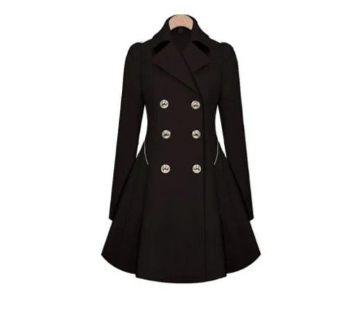 Autumn New Plus Size Womens Coat Commuter Office Ol Slim Fashion Ruffles Windbreaker Double Breasted Trench