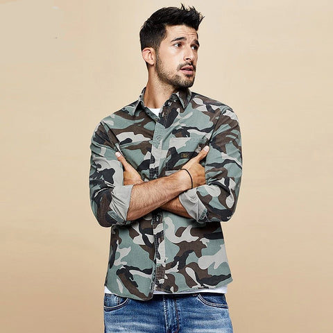 Autumn Cotton Camouflage Military Shirt Men Dress Casual Slim Fit Long Sleeve For Male Fashion Brand Blouse 6112
