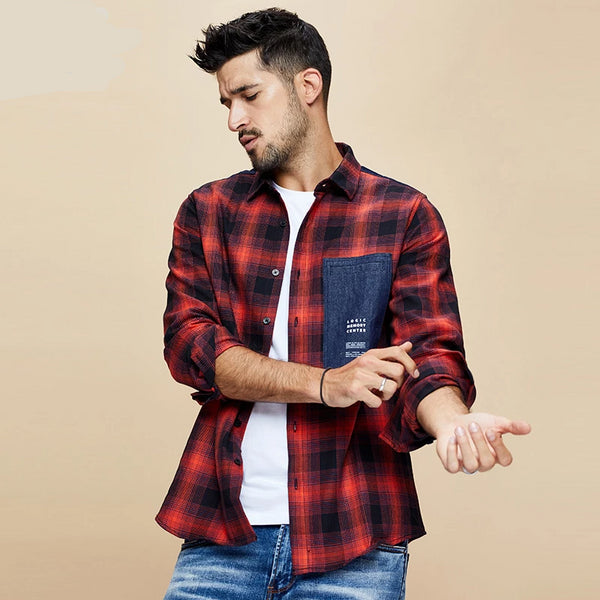 Autumn 100% Cotton Plaid Red Shirt Men Dress Button Casual Slim Fit Long Sleeve For Male Fashion Brand Blouse 6987